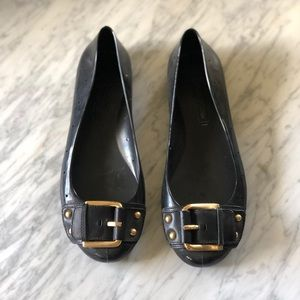 BCBG Ballet Flat Plastic with Gold Buckle